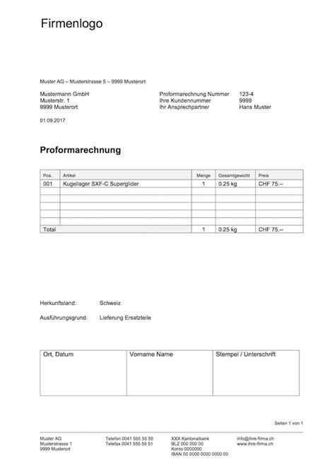 Muster Rechnung Schweiz proformarechnung vorlage word excel format muster