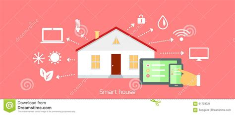 design house digital smart house concept icon flat design stock vector image