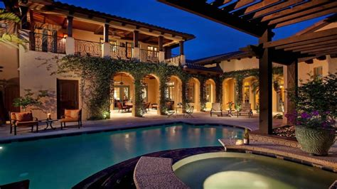 Spanish Style Home With Courtyard Pool Mediterranean Style Mediterranean House Plans With Pool