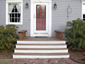 Front Door Stairs Cape Cod Front Porch With Mahogany And White Steps Benches Instead Of Side Rails Front Steps
