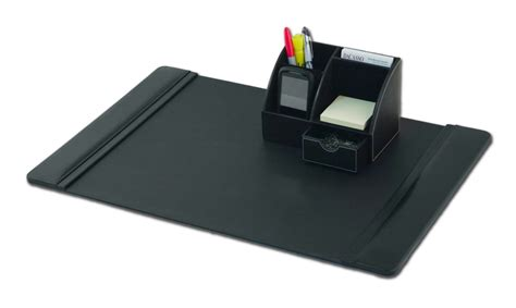 D1006 Black Leather 2 Piece Desktop Organizer Desk Set Desk Organizer Sets