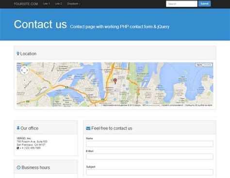 contact page bootstrap 3 0 template with working php form
