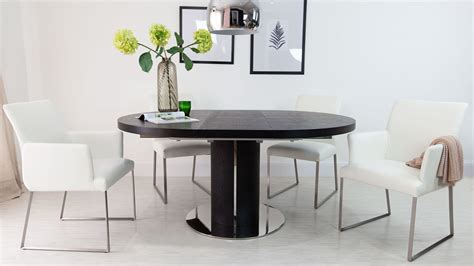 Black Ash Dining Table And Chairs Luxurious Contemporary Black Ash Real Leather Extending Set