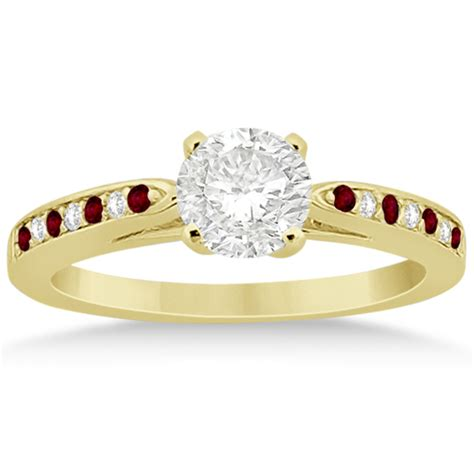garnet engagement ring set 14k yellow gold 0