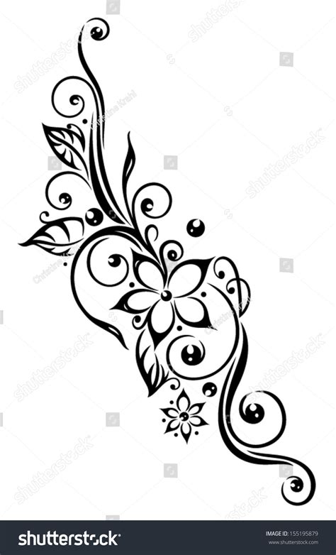 150 tribal flower tattoos design black flowers illustration tribal style stock