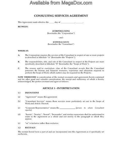 contractor agreement template canada canada consulting contract and confidentiality agreement