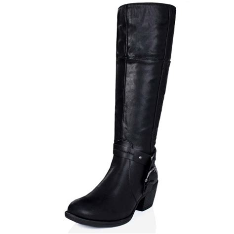 buy embellish block heel buckle knee high boots