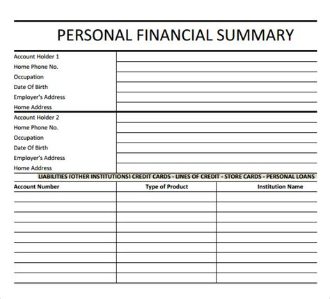 sle financial summary 6 documents in pdf word