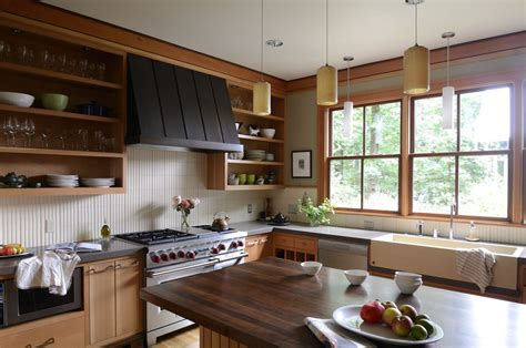 Subway Tile Backsplash Ideas open shelving range hood kitchen contemporary with tile