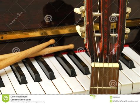 Keyboard Drumband drum sticks guitar and piano keyboard stock photography