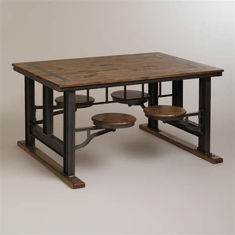 Cost Plus by Nuevo V45 Reclaimed Wood Top Dining Table With Attached Stools Copy Cat Chic