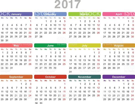 Whole Year Calendar 2017 Year 2017 Annual Calendar Stock Vector 618837950 Istock