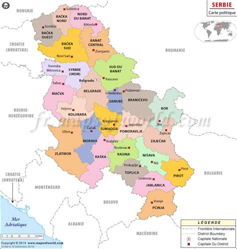 where is serbia on the map serbie carte