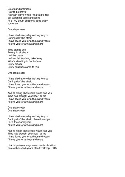 printable lyrics thousand years christina perri song a thousand years worksheet