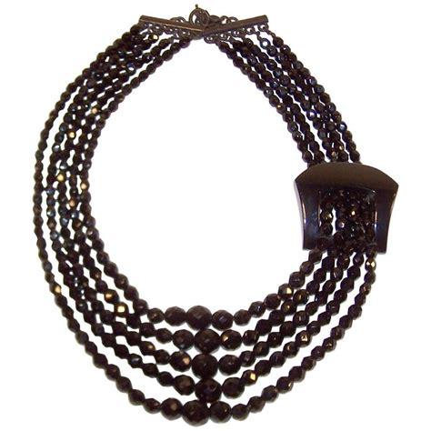 multi strand black bead necklace c 1990 giorgio armani jet black bead multi strand necklace
