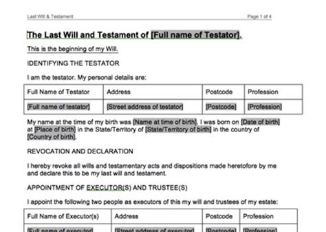 Free Australian Will Template sle last will and testament form 8 last will and