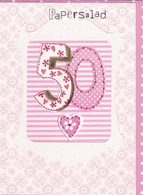 50th Birthday Cards Uk Pink 50th Birthday Card Karenza Paperie
