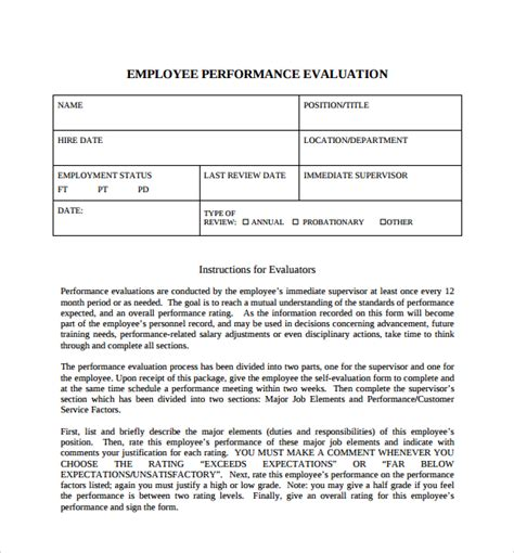employee self evaluation form template sle employee self evaluation form 8 free documents