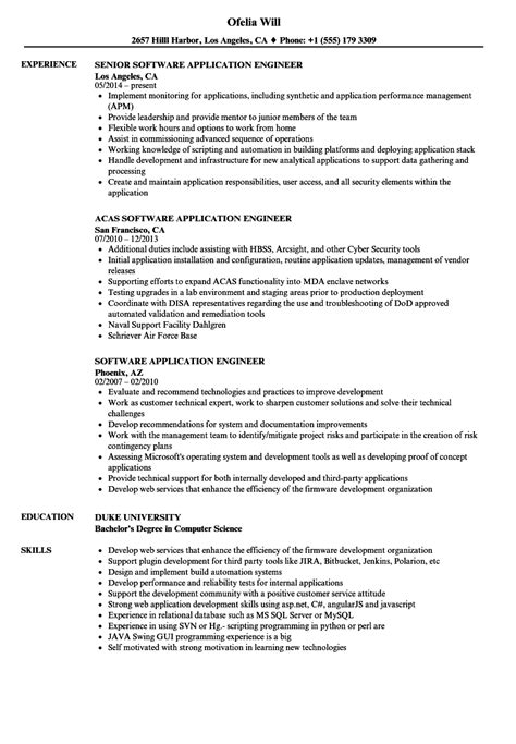 resume format for application engineer software application engineer resume sles velvet