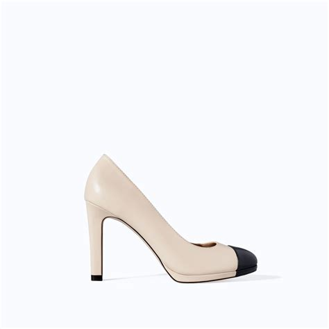 two tone high heels zara twotone high heel platform court shoe in lyst