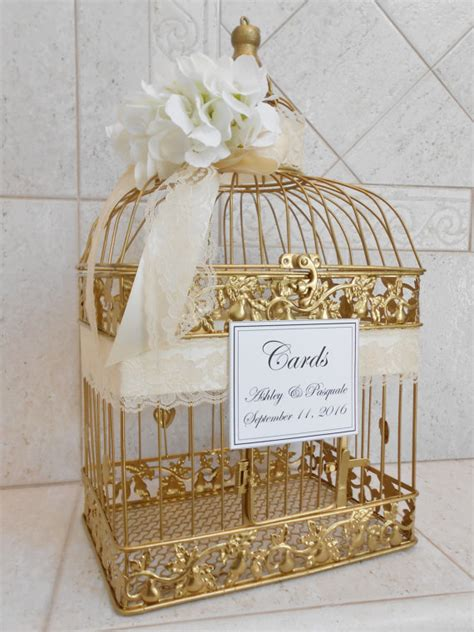 large gold birdcage wedding card holder wedding card