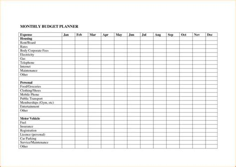 Free Monthly Bills Spreadsheet   onlyagame