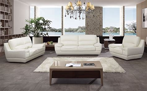 Living Room Furniture History 3 Pc Modern White Italian Top Grain Leather Sofa Loveseat