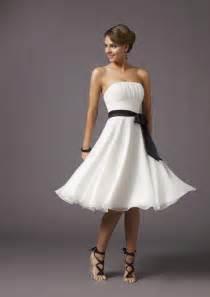 strapless knee length black sash chiffon white bridesmaid