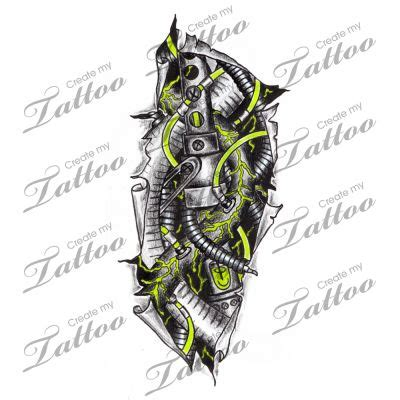 robot tattoo designs biomech uv liquid metal parts torn skin