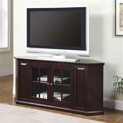 Tv Stand Glass Doors Rich Cherry Finish Modern Corner Tv Stand W Two Glass Doors