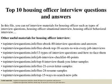 top 10 housing officer questions and answers