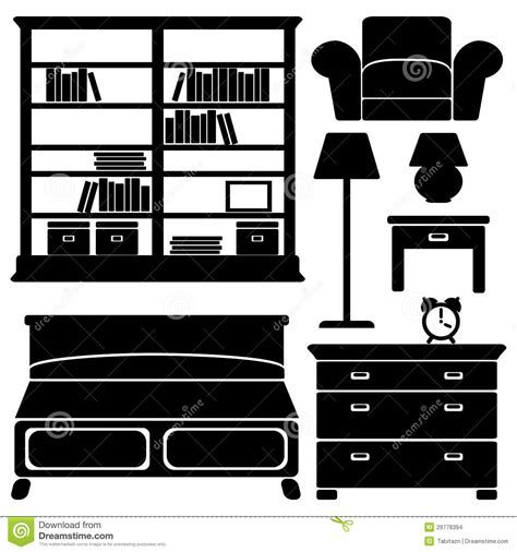 Building A Simple Bookshelf Furniture Icons Bedroom Set Stock Vector Image 29778394