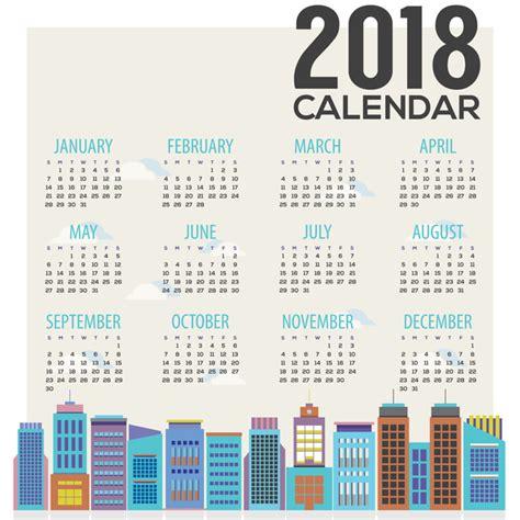 Calendar 2018 Eps Free 2018 City Calendar Vector Template 05 Vector Calendar