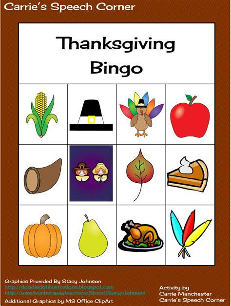 free printable thanksgiving picture bingo cards carrie s speech corner thanksgiving freebie