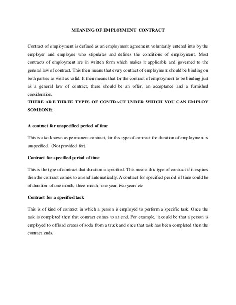 Contract Letter Definition Nature Of Employment Contract Mocu