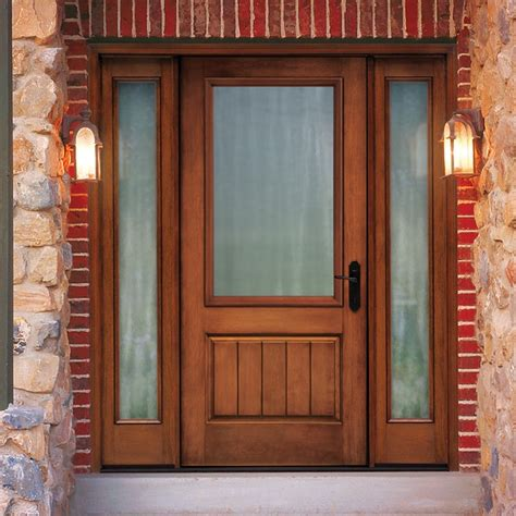 Wood Front Entry Doors With Sidelights Thermatru Classic Craft Rustic Fiberglass Entry Door With Sidelights Ccr205xj Front Door