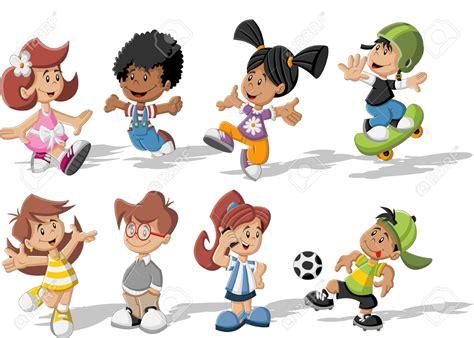 imagenes niños jugando en grupo grupo de ni 241 os felices jugando dibujos animados