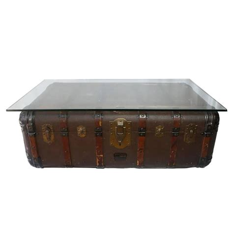 Trunk Side Table Antique Steamer Trunk Coffee Table Side Table Circa 1900 At 1stdibs
