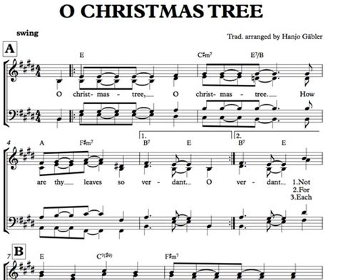 o christmas tree variation pdf sheet music o tree sheet for mixed choir sheet