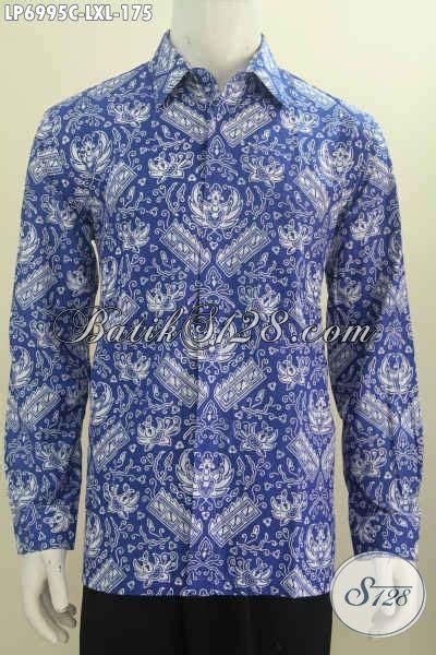 Rok Panjang Motif Batik Biru kemeja batik warna biru berbahan halus lengan panjang