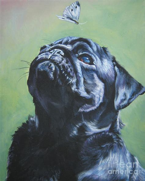 black pug painting pug black by l a shepard