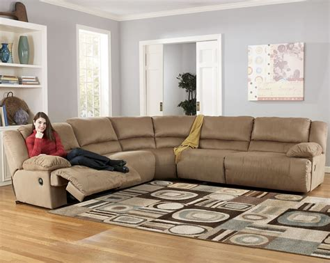 ashley 567 sectional microfiber reclining sectional by ashley furniture store