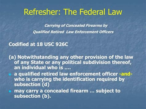 18 usc section 926c ppt h r 218 law enforcement officers safety act of