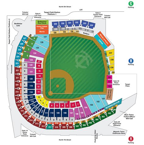 Stadium Seating by Target Field Map
