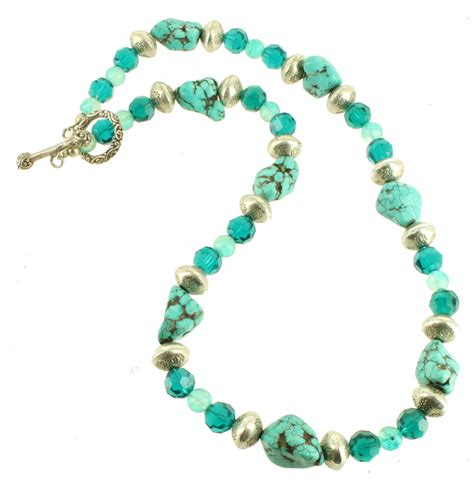 big bead necklace vintage sterling turquoise big chunks silver blue green