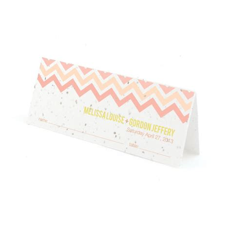 Chevron Gift Card - plantable chevron place card plantable seed wedding place cards catalog