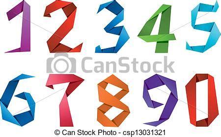numeri clipart illustrazioni vettoriali di cifre origami stile numeri