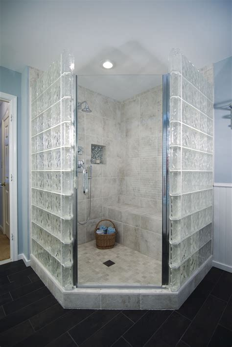 glass blocks surround  shower  semi privacy