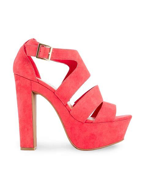 new look new look scarper orange high heeled sandals