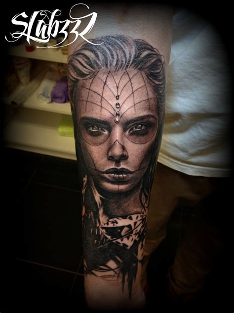 tattoo girl of the day day of the dead girl tattoo by calebslabzzzgraham on